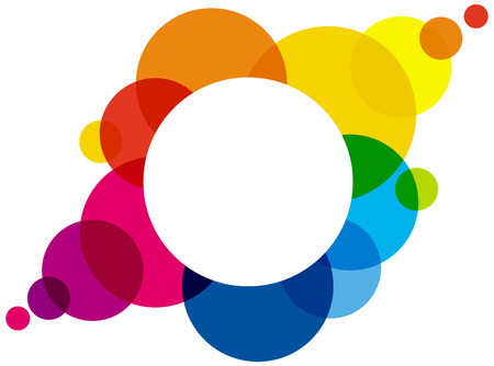 rainbow colors: Rainbow Colored Bubbles  forming a colorful space or cloud for a background or to write something in the white circle. Illustration using transparencies.