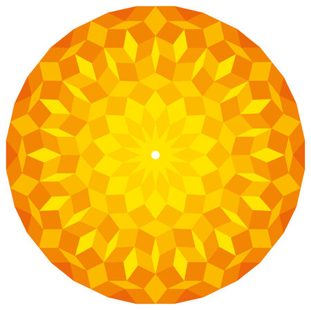 sacral: Sun from a Penrose Pattern - a specific geometric figure in mathematics. Non-periodic tiling generated by an aperiodic set of prototiles. Illustration on white background. Illustration