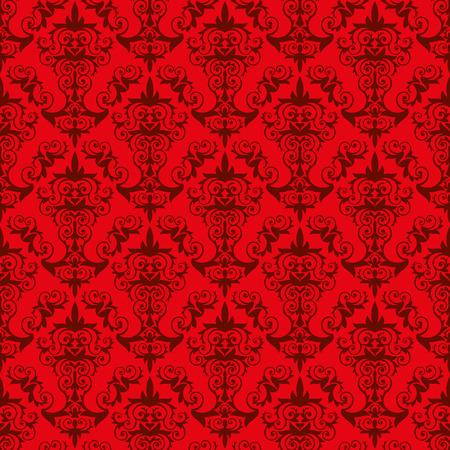 endlos: Rote Tapeten-Muster - eine elegante Tapete altmodischen Stil mit floralen Elementen. Die Fliese kann endlos in alle Richtungen kombiniert werden. Illustration