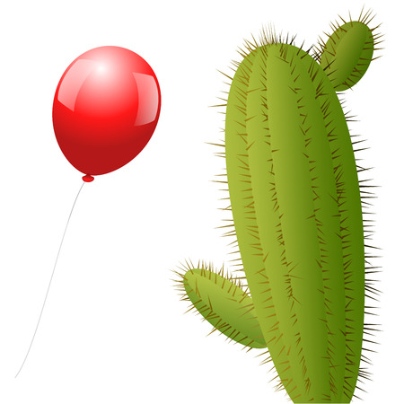 A red balloon approaches a cactus with many spines  Isolated vector illustration over white background  Vector
