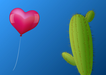 risky love: A pink heart shaped balloon approaches a cactus with many spines  Vector illustration on blue gradient background  Illustration