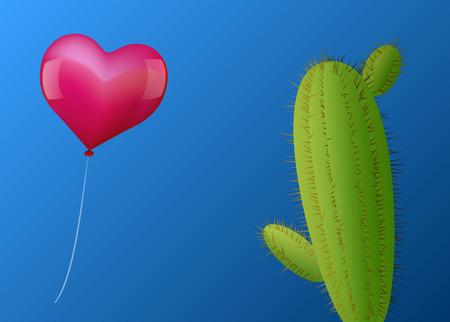risky love: Un cuore rosa a forma di palloncino si avvicina un cactus con molte spine Illustrazione vettoriale su sfondo blu sfumato