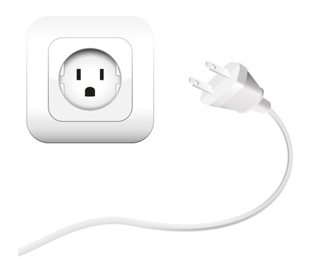 electrically: Plug and a socket - NEMA connector   to connect electrical equipment  Isolated vector illustration on white background