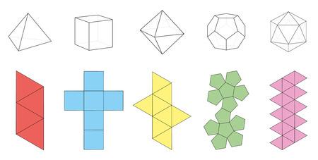 Cinco sólidos platónicos, figuras tridimensionales y sus correspondientes redes de ilustración vectorial aislado sobre fondo blanco