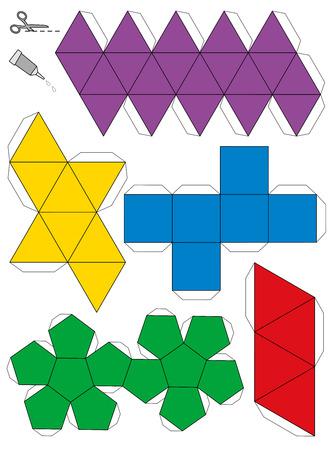 solid figure: Modello di carta modello dei cinque solidi platonici, per fare un lavoro artigianale tridimensionale di reti illustrazione vettoriale isolato su sfondo bianco