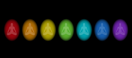 aureole: Different aura colors of a meditating woman in yoga position  Isolated vector illustration on black background
