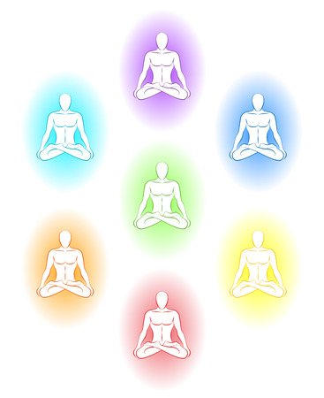 auras: Yoga meditation with various auras of the subtle body of a man  Isolated vector illustration on white background