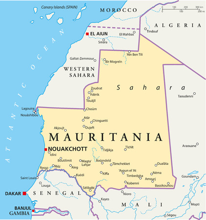 Mauritania Political Map with capital Nouakchott, national borders, most important cities, rivers and lakes  Illustration with labeling and scaling Illustration