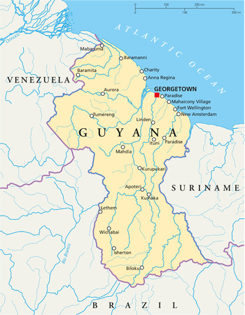 Guyana Political Map with capital Georgetown, national borders, most important cities and rivers Illustration with labeling and scaling