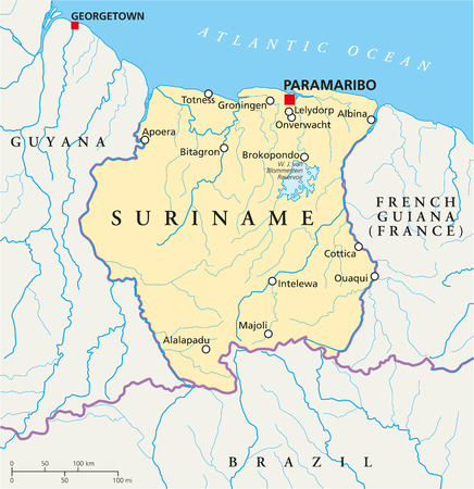 suriname: Suriname Political Map with capital Paramaribo, national borders, most important cities, rivers and lakes  Illustration with labeling and scaling