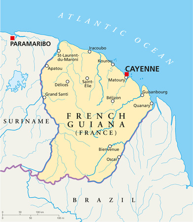 cayenne: French Guiana Political Map with capital Cayenne, national borders, most important cities, rivers and lakes  Illustration with English labeling and scaling