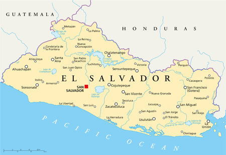 el salvador: El Salvador Political Map with capital San Salvador, national borders, most important cities, rivers and lakes  Illustration with English labeling and scaling