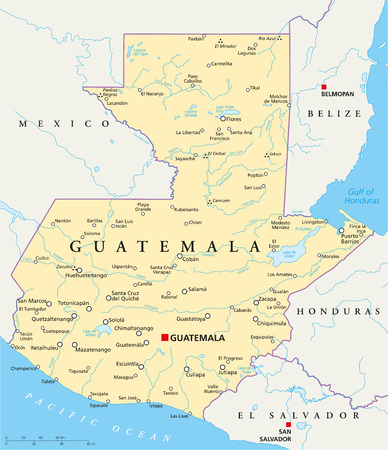 Guatemala Political Map with capital Guatemala City, national borders, most important cities, rivers and lakes  Illustration with English labeling and scaling