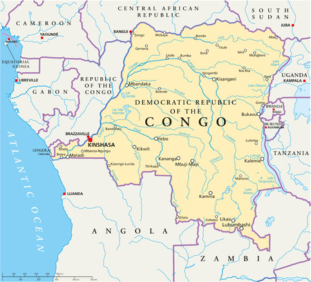 uganda: Congo Democratic Republic Political Map with capital Kinshasa, national borders, most important cities, rivers and lakes  Illustration with English labeling and scaling