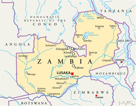 angola: Zambia Political Map with capital Lusaka, national borders, most important cities, rivers and lakes  Illustration with English labeling and scaling