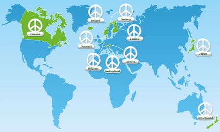 Global peace world map, showing the ten most peaceful countries worldwide since many years - tagged with ten peace symbol medals with the names of the concerning nations. Vector illustration.