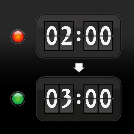 메달: 두 개의 디지털 시간 표시와 빨간색과 녹색의 경고 빛으로 묘사 - 오전 2시 58분에서 봄에 일광 절약 시간으로 앞으로 한 시간 시계를 넣습니다. 검은 배경에 벡터.