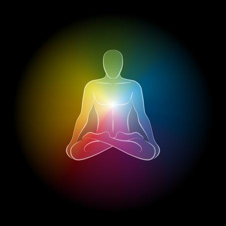 astral body: Aura iridiscente de un hombre. Ilustraci�n vectorial aislados en fondo negro. Vectores