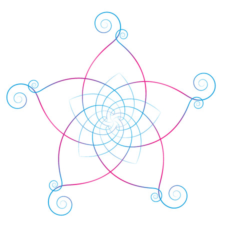energy healing: Flower of the venus, symbol of love and harmony, calligraphic style. Isolated vector illustration on white background.
