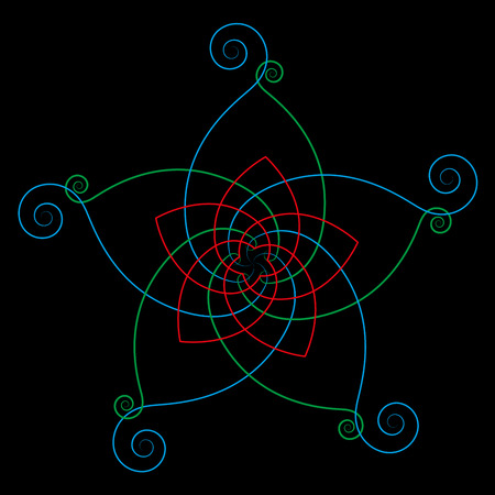 energy healing: Flower of the venus, symbol of love and harmony, calligraphic style. Isolated vector illustration on black background. Illustration