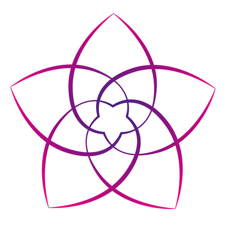 energy healing: Pink flower of the venus, symbol of love and harmony. Isolated vector illustration on white background. Illustration