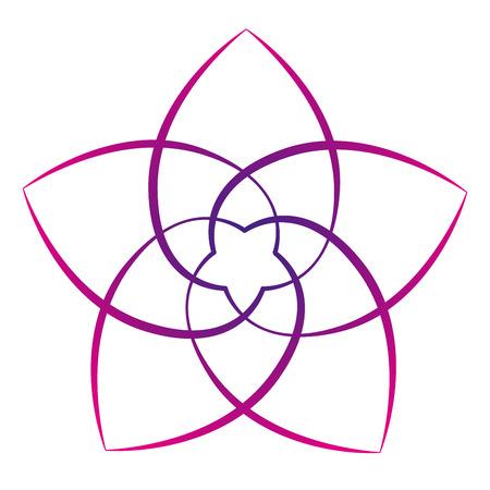 Rosa Blume der Venus, Symbol der Liebe und der Harmonie. Isolierte Vektor-Illustration auf weißem Hintergrund.