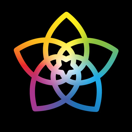energy healing: Flower of the venus, symbol of love and harmony, rainbow gradient style. Isolated vector illustration on black background. Illustration