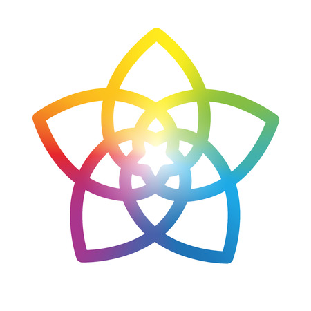 energy healing: Rainbow gradient colored flower of venus, symbol of love and harmony. Isolated vector illustration on white background.