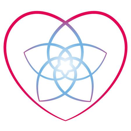armonia: Flor de venus con el corazón que rodea, símbolo del amor y la armonía. Ilustración vectorial aislados en fondo blanco. Vectores