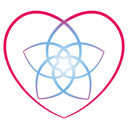 energy healing: Flower of venus with surrounding heart, symbol of love and harmony. Isolated vector illustration on white background.