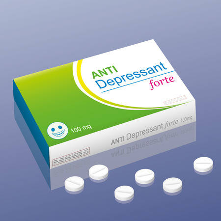 Pills named Anti Depressant forte with a smiling pill as the brand logo on the packet. It is a medical fake product, which alludes to the handling with psychotropic drugs.