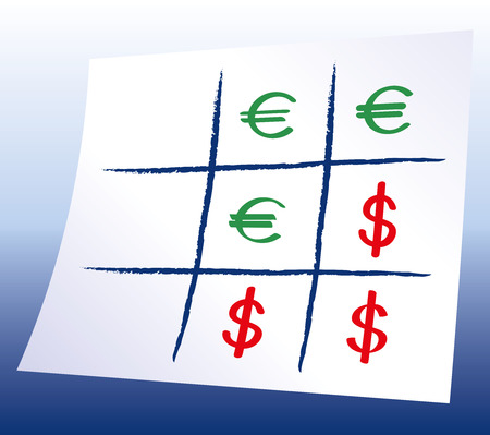 speculation: Euro Dollar Tic-tac-toe - Naughts and crosses with Euro and Dollar symbols, a paper-and-pencil game with blue background gradient. Xs and Os illustration.
