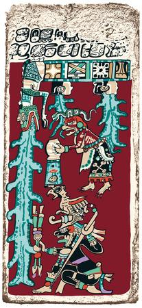 大洪水のマヤの予言 - 大洪水、終末を予測ドレスデン マヤのコーデックスのパピルス。手描きの最古の 1 つのページのイラストとマヤの最も保存状