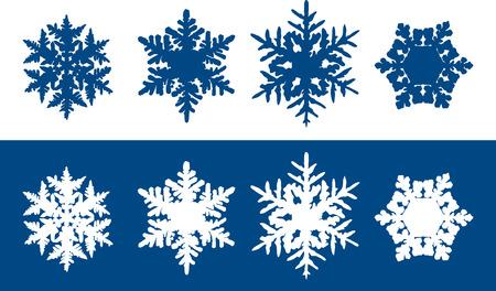 snow flake: Snowflakes - Six individual snowflakes with unique hexagonal structures. Blue snowflakes on white background and white flakes on blue background. Illustration
