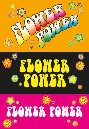 Flower Power Belettering - Drie variaties Flower Power belettering. Sjabloon met florale symbolen op oranje, zwart en roze achtergrond. Illustratie.