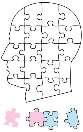 Jigsaw Puzzle Head - Jigsaw Puzzle Head with single pieces. They can be individually removed and arranged. Illustration on white background.
