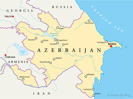 Azerbaijan Political Map with capital Baku, national borders, most important cities, rivers and lakes. English labeling and scaling. Illustration.