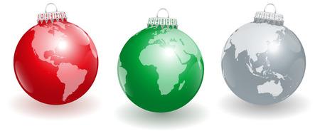 paz mundial: Bolas del �rbol de navidad brillantes con tres �ngulos diferentes del planeta tierra. Ilustraci�n vectorial aislados en fondo blanco.