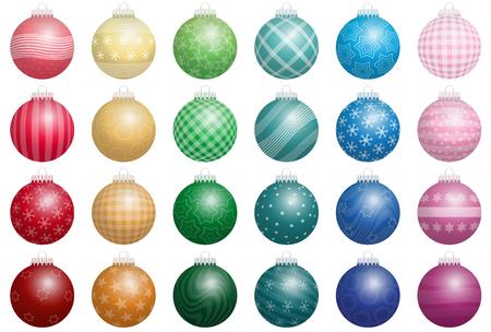 advent calendar: Twenty-four shiny christmas tree balls with various ornaments - a kind of an advent calendar. Isolated vector illustration on white background.