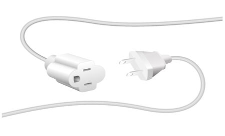 ethernet cable: Extension cable and plug - NEMA connector ? to connect electrical equipment. Isolated vector illustration on white background.
