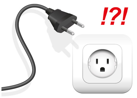 해외로: Socket and plug that are not compatible. The plug has round metal pins, but the socket is applied for flat pins. Isolated vector illustration on white background.