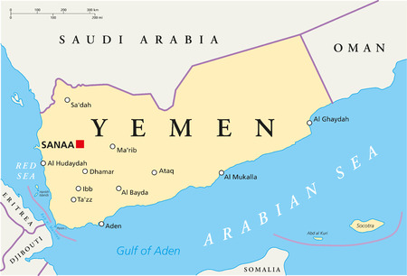 Yemen Political Map with capital Sanaa, national borders and most important cities. English labeling and scaling. Illustration. Çizim