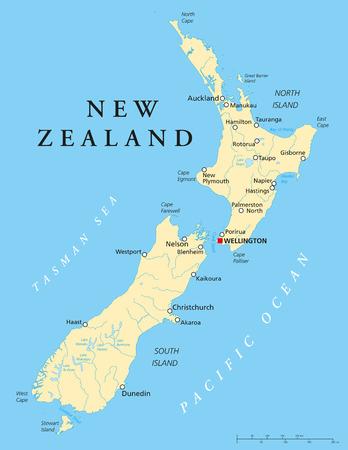Neuseeland Politische Karte mit der Hauptstadt Wellington, Landesgrenzen, die wichtigsten Städte, Flüsse und Seen. Englisch Kennzeichnung und Skalierung. Illustration. Standard-Bild - 31491652