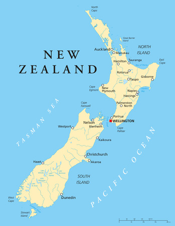 New Zealand Political Map with capital Wellington, national borders, most important cities, rivers and lakes. English labeling and scaling. Illustration.