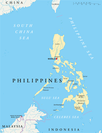 manila: Filippine Political Map - Filippine Mappa politico con capitale Manila, i confini nazionali, pi� importanti citt�, fiumi e laghi. Etichettatura inglese e desquamazione. Illustrazione.