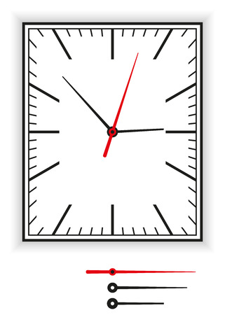 clockface: Rectangular Clock Face as part of an analog clock with black and red pointers. Illustration on white background.