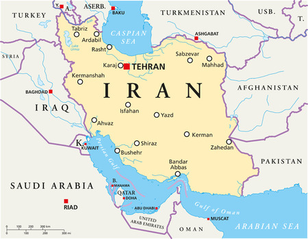 aras: Iran Political Map with capital Tehran, national borders, most important cities, rivers and lakes. English labeling and scaling. Illustration.