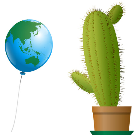 A planet earth balloon where asia and australia is recognizable approaches a threatening cactus in a plant pot. Isolated vector illustration over white background. Vector