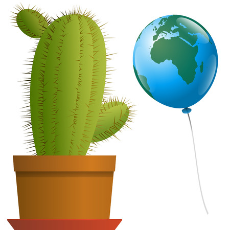Planet earth as a balloon approaches a threatening spiny cactus in a plant pot. African and european angle of view. Isolated vector illustration over white background. Vector