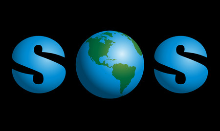 doomsday: SOS with planet earth in the middle as a symbol for global troubles like environmental, humanity, political or cosmic problems. Vector illustration on black background.